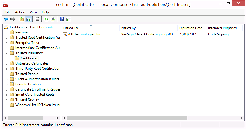 installing drivers from untrusted publishers